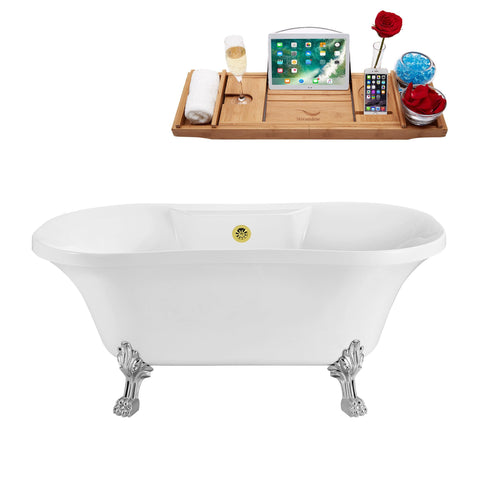 "Streamline Soaking Clawfoot 60"" Tub in White w/ External Drain Set N100CH-GLD"