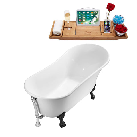 "Streamline Soaking Clawfoot 67"" Tub in White w/ External Drain Set N340BL-CH"