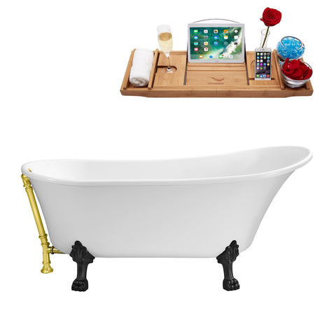 "Streamline Soaking Clawfoot 67"" Tub in White w/ External Drain Set N340BL-GLD"