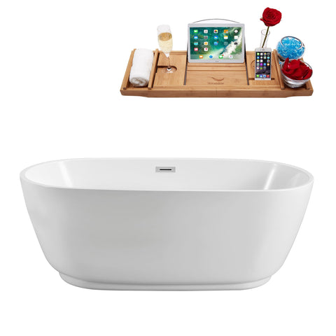 "Image of Streamline Soaking Freestanding 59"" Tub in White w/ Internal Drain Set 