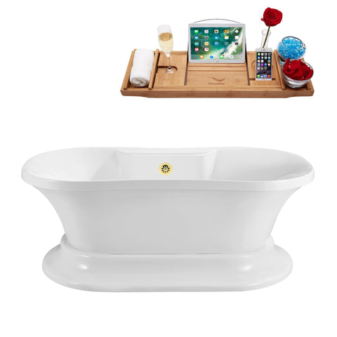 "Streamline Soaking Freestanding 60"" Tub in White w/ External Drain Set N180GLD"