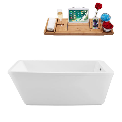 "Image of Streamline Soaking Freestanding 60"" Tub in White w/ Internal Drain Set 