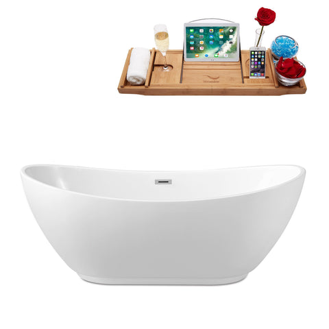 "Streamline Soaking Freestanding 62"" Tub in White w/ Internal Drain Set 