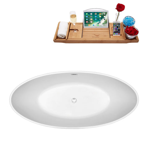 "Image of Streamline Soaking Freestanding 63"" Tub in White w/ Internal Drain Set 