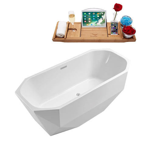 "Streamline Soaking Freestanding 63"" Tub in White w/ Internal Drain Set 