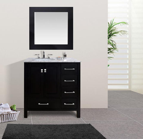 Image of Stufurhome 36 inch Malibu Espresso Single Sink Bathroom Vanity with Mirror GM-6412-36ES-CR-M35