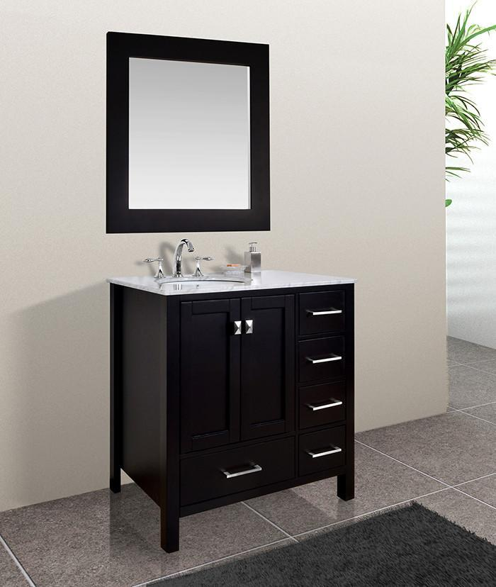 Stufurhome 36 inch Malibu Espresso Single Sink Bathroom Vanity with Mirror GM-6412-36ES-CR-M35