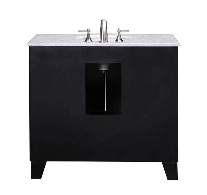 Stufurhome 40 inch Grand Cheswick Espresso Single Sink Vanity with Carrara Marble Top GM-2206-40ES-CR
