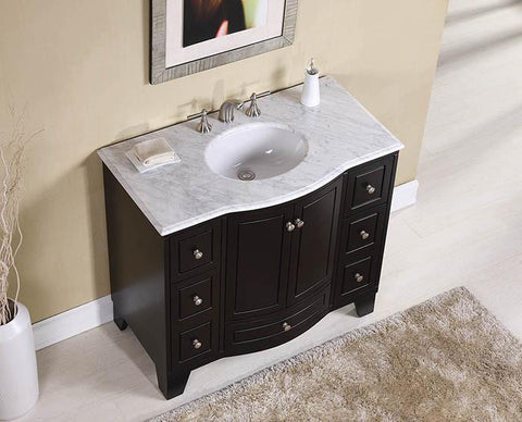 Image of Stufurhome 40 inch Grand Cheswick Espresso Single Sink Vanity with Carrara Marble Top GM-2206-40ES-CR