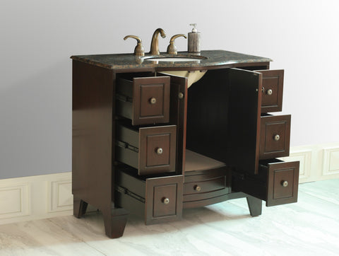 Image of Stufurhome 40 inch Grand Cheswick Single Sink Vanity with Baltic Brown Granite Top GM-2206-40-BB