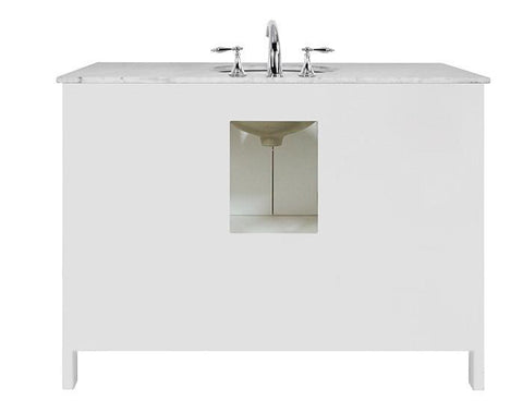 Image of Stufurhome 48 inch Malibu Pure White Single Sink Bathroom Vanity with Mirror GM-6412-48PW-CR-M47