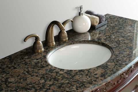 Image of Stufurhome 56 inch Princeton Single Sink Bathroom Vanity with Baltic Brown Granite Top GM-5110-56-BB