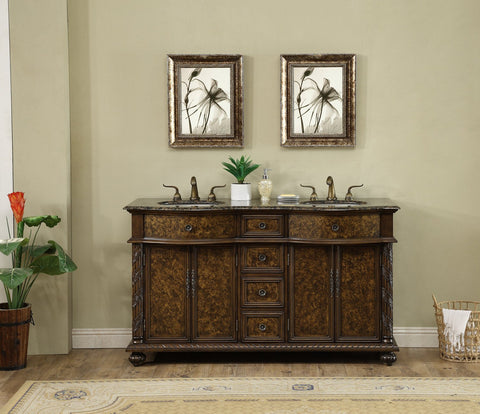 Image of Stufurhome 60 inch Amelia Double Sink Vanity with Baltic Brown Granite Top GM-5116-60-BB