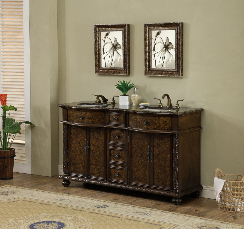 Stufurhome 60 inch Amelia Double Sink Vanity with Baltic Brown Granite Top GM-5116-60-BB