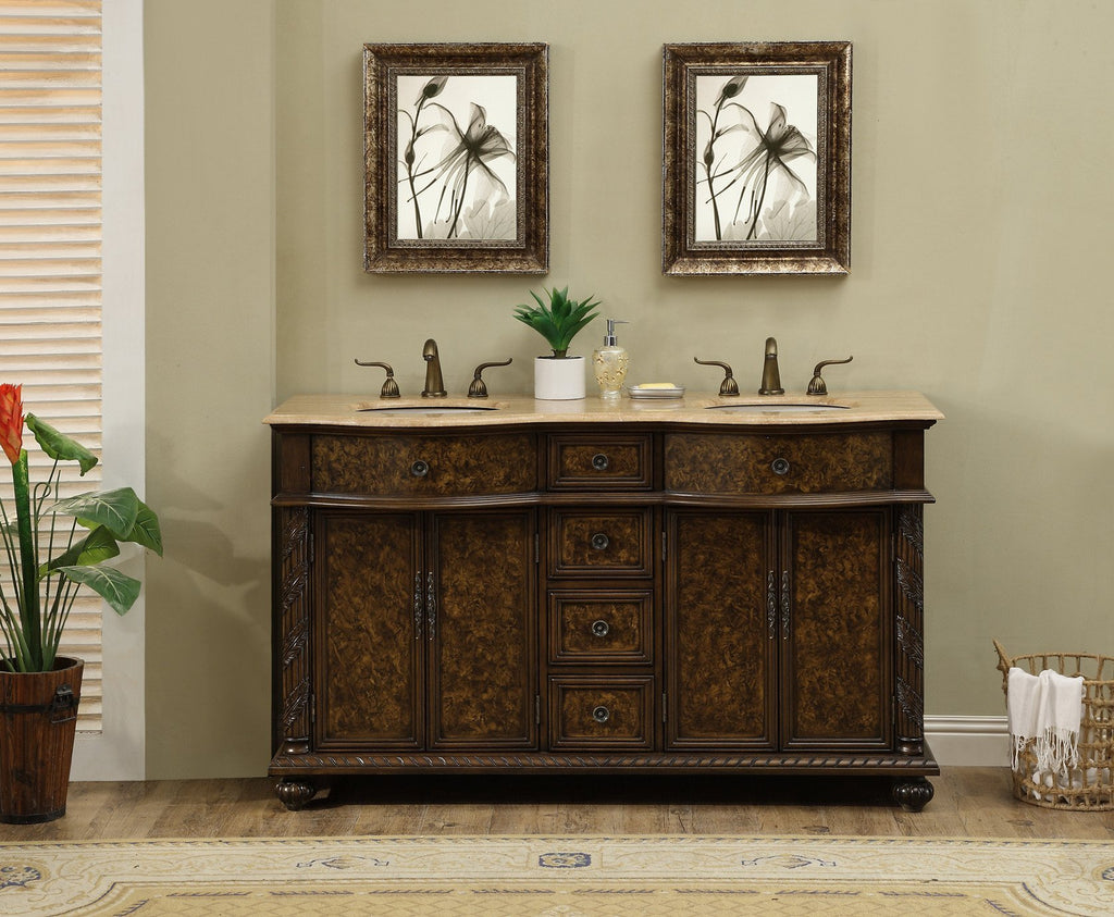 Stufurhome 60 inch Amelia Double Sink Vanity with Travertine Marble Top GM-5116-60-TR