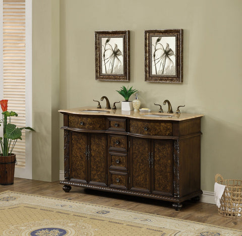 Image of Stufurhome 60 inch Amelia Double Sink Vanity with Travertine Marble Top GM-5116-60-TR