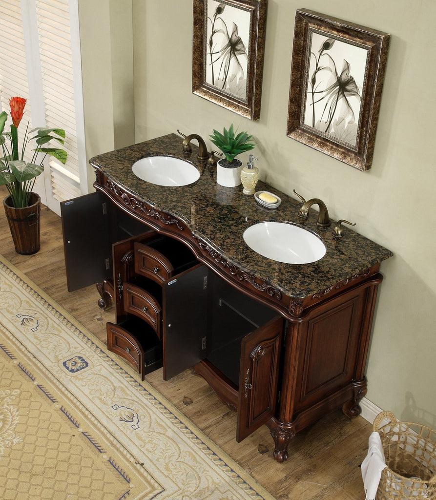 Stufurhome 60 inch Saturn Double Sink Vanity with Baltic Brown Granite Top GM-3323-60-BB