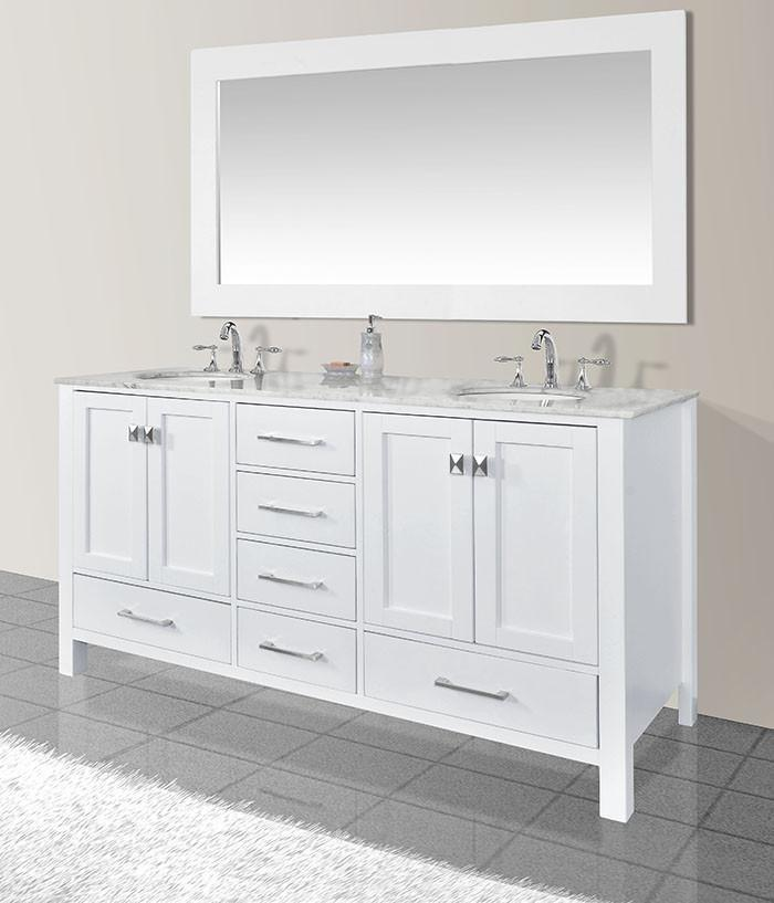 Stufurhome 72 inch Malibu Pure White Double Sink Bathroom Vanity with Mirror GM-6412-72PW-CR-M71