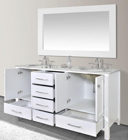 Image of Stufurhome 72 inch Malibu Pure White Double Sink Bathroom Vanity with Mirror GM-6412-72PW-CR-M71