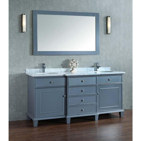 Image of Stufurhome Cadence Grey 60 inch Double Sink Bathroom Vanity with Mirror HD-7000G-60-CR