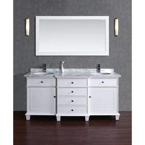 Image of Stufurhome Cadence White 72 inch Double Sink Bathroom Vanity with Mirror HD-7000W-72-CR