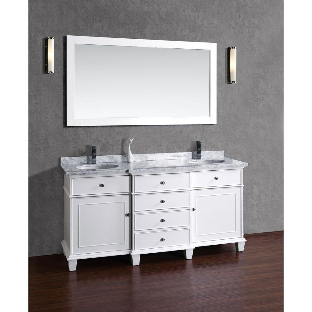 Stufurhome Cadence White 72 inch Double Sink Bathroom Vanity with Mirror HD-7000W-72-CR