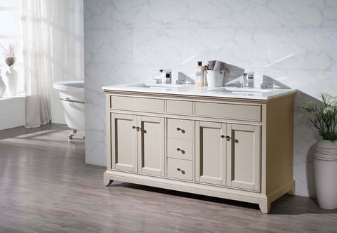 Image of Stufurhome Erin 59 Inch Double Sink Bathroom Vanity HD-6004-59-QZ