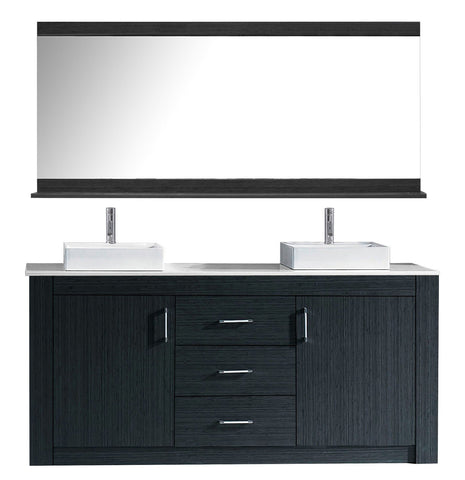 "Image of Tavian 60"" Double Bathroom Vanity KD-90060-S-GR"