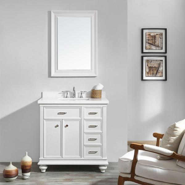 "Vinnova Charlotte 36"" Transitional White Single Sink Vanity Set 735036-WH-CQS"
