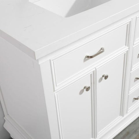 "Image of Vinnova Charlotte 36"" Transitional White Vanity with Carrara White Composite Stone 735036-WH-CQS-NM"