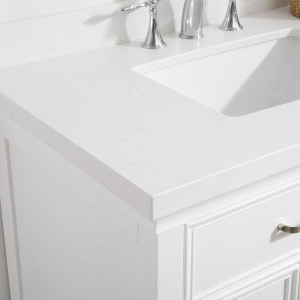 "Vinnova Charlotte 36"" Transitional White Vanity with Carrara White Composite Stone 735036-WH-CQS-NM"