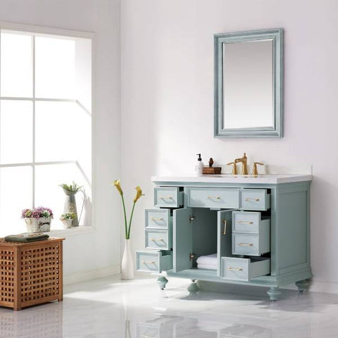 "Image of Vinnova Charlotte 48"" Transitional Green Single Sink Set Vanity 735048-FG-CQS 735048-FG-CQS"