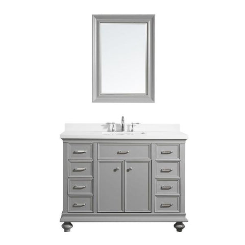 "Image of Vinnova Charlotte 48"" Transitional Grey Single Sink Vanity Set 735048-GR-CQS"