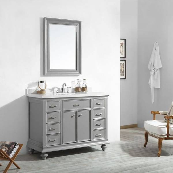 "Vinnova Charlotte 48"" Transitional Grey Single Sink Vanity Set 735048-GR-CQS"