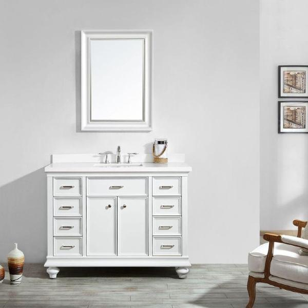 "Vinnova Charlotte 48"" Transitional White Single Sink Vanity Set 735048-WH-CQS"