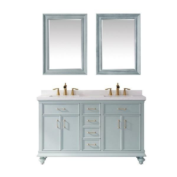"Vinnova Charlotte 60"" Transitional Green Double Sink Vanity Set 735060-FG-CQS"