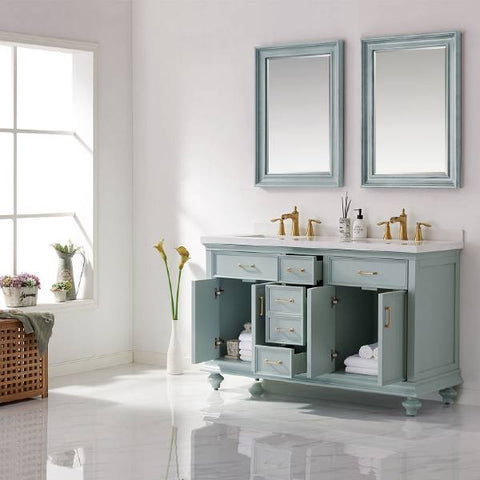 "Image of Vinnova Charlotte 60"" Transitional Green Double Sink Vanity Set 735060-FG-CQS"