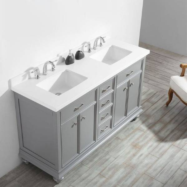 "Vinnova Charlotte 60"" Transitional Grey Double Sink Vanity 735060-GR-CQS-NM"