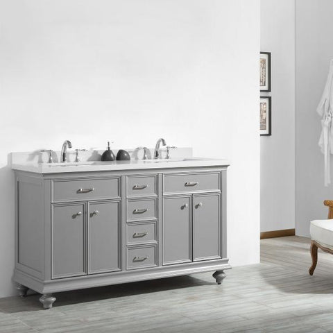 "Image of Vinnova Charlotte 60"" Transitional Grey Double Sink Vanity 735060-GR-CQS-NM"