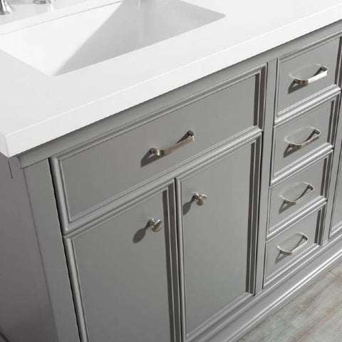 "Image of Vinnova Charlotte 60"" Transitional Grey Double Sink Vanity 735060-GR-CQS-NM 735060-GR-CQS-NM"