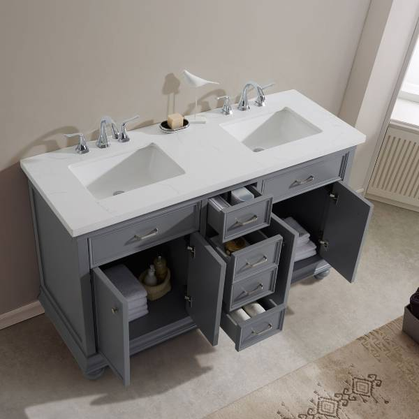 "Vinnova Charlotte 60"" Transitional Grey Double Sink Vanity 735060-GR-CQS-NM 735060-GR-CQS-NM"
