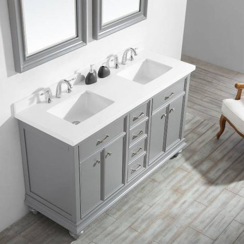 "Vinnova Charlotte 60"" Transitional Grey Double Sink Vanity Set 735060-GR-CQS"