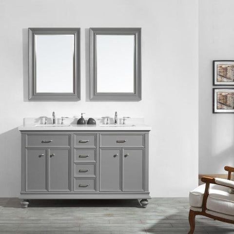 "Image of Vinnova Charlotte 60"" Transitional Grey Double Sink Vanity Set 735060-GR-CQS"