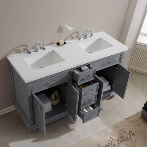 "Image of Vinnova Charlotte 60"" Transitional Grey Double Sink Vanity Set 735060-GR-CQS 735060-GR-CQS"