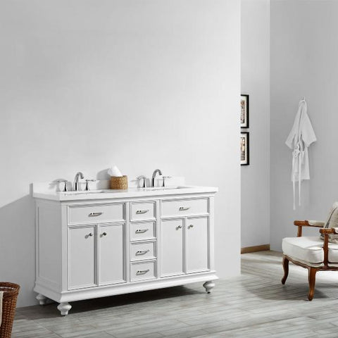 "Vinnova Charlotte 60"" Transitional White Double Sink Vanity 735060-WH-CQS-NM"