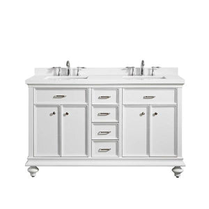 "Vinnova Charlotte 60"" Transitional White Double Sink Vanity 735060-WH-CQS-NM 735060-WH-CQS-NM"