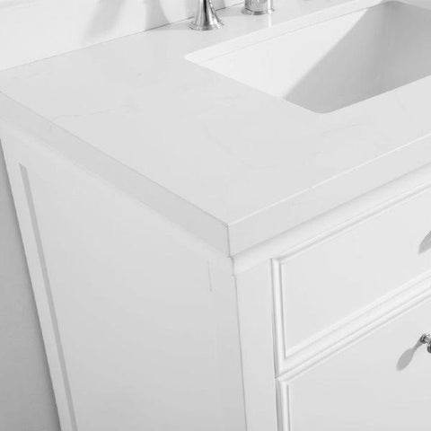 "Image of Vinnova Charlotte 60"" Transitional White Double Sink Vanity Set 735060-WH-CQS"