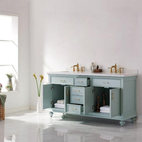 "Vinnova Charlotte 72"" Transitional Green Double Sink Vanity 735072-FG-CQS-NM"