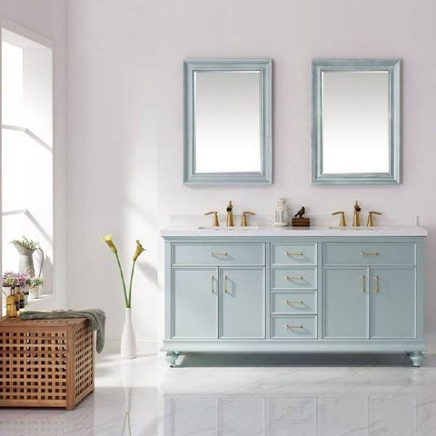 "Image of Vinnova Charlotte 72"" Transitional Green Double Sink Vanity Set 735072-FG-CQS"