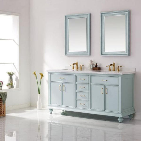 "Vinnova Charlotte 72"" Transitional Green Double Sink Vanity Set 735072-FG-CQS"